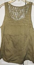 NWT MUDD KHAKI GREEN EMBROIDERED BACK  COTTON SLEEVELESS TOP SHIRT CORPRL GREEN