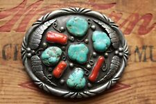 Vintage Large Heavy Hand Made Sterling Silver Turquoise Coral Belt Buckle