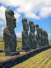 Foto Histórica Isla De Pascua Polinesia Moai De Rapa Nui personas impresión bmp10112