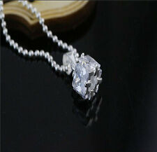 NEW Jewelry 925 Sterling Silver inlay Crystal Square Pendant Necklace