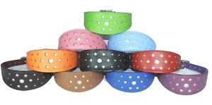 Leather Whippet Dog Collar Greyhound Leather Collar Padded Circle Glitter Design