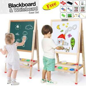 Kids Magnetic Wooden Blackboard Whiteboard Childrens Easel Paint Drawing Board