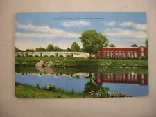 VINTAGE LINEN POSTCARD OF THE SEWAGE DISPOSAL PLANT IN MARION, INDIANA