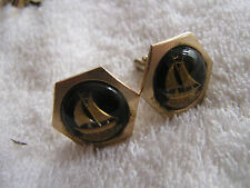Vintage Cufflinks Lucite with Ships Sailboat