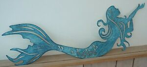 LARGE Teal Mermaid Metal Sign Silhouette Sculpture Nautical Beach Home Decor NEW