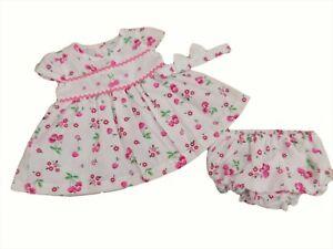 BNWT  Baby Girls summer cherry dress set knickers & hairband 3-6m  6-9 mths