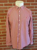 Thomas Pink Long Sleeve Button Front Casual Shirt Mens XL w/ Fox Logo Red White