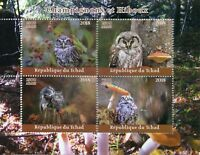 Chad 2018 CTO Mushrooms & Owls 4v M/S Champignons Owl Fungi Nature Birds Stamps