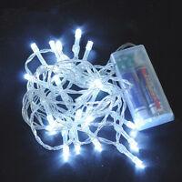 10 LEDs Weiß Weihnachten Party Hochzeit Batterie LED Lichterkette 1M Kette