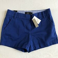 NWT J. Crew Womens Size 2  Blue Chino Shorts 4 inch inseam