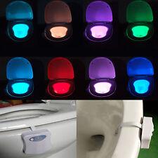 LED 8 Farbe Motion Sensor Toilettendeckel WC Sitz Klobrille Klodeckel Nachtlicht