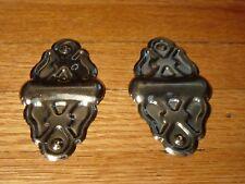 Chest Trunk Brass Plated Decor Diamond Edge Corners Vintage Old Stock Hardware