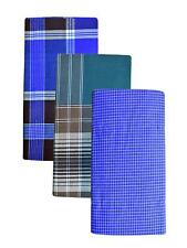 Indian Handloom Men's Large Sarong Lungi 100% Cotton Fabric MultiColor Pack of 3