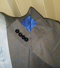 38R Holland & Sherry BESPOKE Periwinkle Check Tweed Surgeon Jacket Blazer Coat