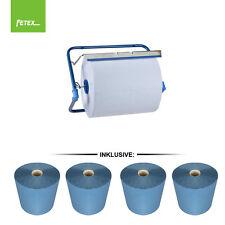 4 x Putzrollen blau Putzrolle 26x38cm 3-lg Putztuchrolle Werkstatt + Wandhalter
