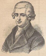 A9266 Giuseppe Haydn - Xilografia - Stampa Antica del 1906 - Engraving
