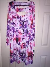 BNWOTs Definitions size20 floral cutout front/back long sleeve knee length dress
