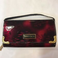 AUTHENTIC Jimmy Choo Patent Leather Wallet Clutch Bag Black gold hardware