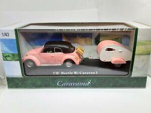 vw beetle cox avec  caravan rose 1/43 cararama
