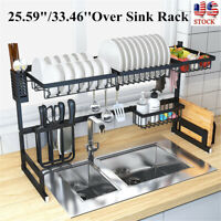 Stainless Steel Over Sink Dish Drying Rack Drainer Shelf Cutlery Holder Kitchen