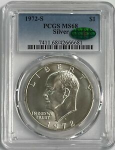 1972 S Eisenhower Silver Dollar CAC PCGS MS68