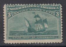 """USA MIINT NG Scott #232  3 cent green """"Columbian Exposition""""   F"""