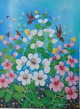 CARIBBEAN FOLK ART PAINTING by ALAND ESTIME HAITI ART NAIF FLORAL BIRDS BEES