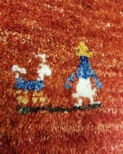"Stunning Vintage 1980-1990s Natural Dyes 6'6"" x6'4"" Virgin Wool Pile Gabbeh Rug"