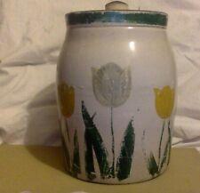 Vintage Lidded Crock. Hand Painted Tulips.