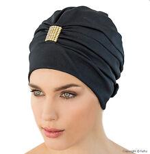 Ladies Swimming Cap Retro Style Swim Hat FASHY Black with Gold & Diamante Detail