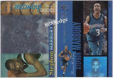 (2)1996-97 STADIUM ROOKIE SHOWCASE/SP HOLOVIEWS:STEPHON MARBURY 2x RC INSERT LOT