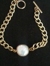 """GOLD PLATED"""" GENUINE COIN PEARL """" UNUSUAL TOGGLE BRACELET"""