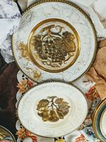 """Plate 12"""" Vintage Brass White """"Fruit""""  Made In England Hanging lot of 2"""