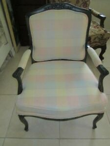 VINTAGE ITALIAN CARVED ARM CHAIR WOOD AND FABRIC