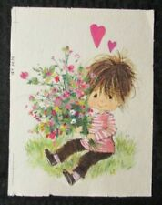 "VALENTINES DAY Cute Boy w/ Bouquet & Hearts 6x8"" Greeting Card Art #3234"