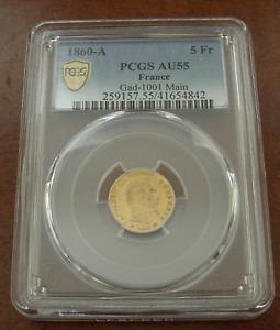 France 1860 A Gold 5 Francs PCGS AU55 Napoleon III