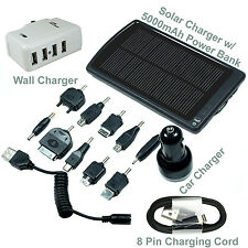 5000mAh Backup Battery with Solar Power Fast Wall - Car Chargers - Universal
