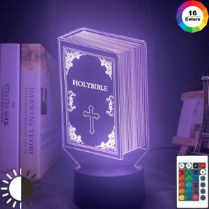 LED Night Light Book Holy Bible Figure For Bedroom Table Decors 3D Acrylic Lamp