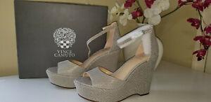 Vince Camuto Tatchen Leather Ankle Strap Platform Wedges Black/White Sz.10M $135