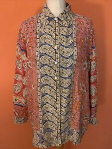 SENSATIONS - Gorgeous/Rare 100% Silk True Vintage Patterned Shirt/Blouse (L/XL)
