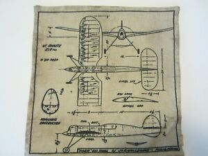 """Linkwell Pillow Cover - 17"""" x 17"""" Early Airplane Drawing Blueprint Line Drawing"""