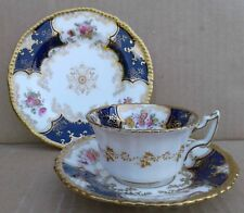 COALPORT COBALT BLUE BATWING TEA CUP, SAUCER & TEA PLATE - 2665.