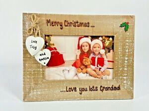 Merry Christmas Personalised Driftwood Photo Frame Gift Great Nan Grandad Gran