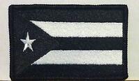 PUERTO RICO Flag Iron-On Patch Morale Patch Black & White Version Black Border