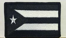 PUERTO RICO Flag Iron-On Patch Morale Patch Black & White Version Black Border