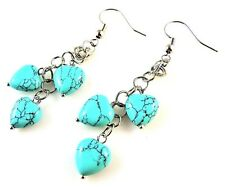 1 Natural Pair of Turquoise Dangle Earrings with Gemstone Hearts - # 6