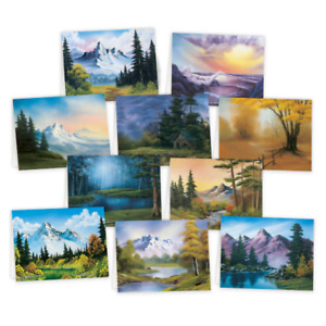 Bob Ross Notecards Oil Painting Decorative Note Cards Pack Of 10 With Envelopes