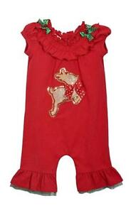 Bonnie Jean Christmas 1 Pc Red with Leaping Reindeer Applique Smocked Pants Set