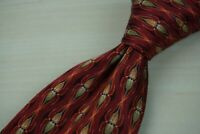 Ermenegildo Zegna Cherry Red Bronze Classic Pinstriped Hourglass 100% Silk Tie