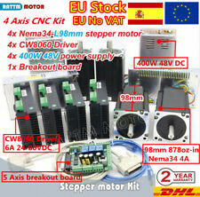 〖ES〗 4 Axis Nema34 Stepper Motor 878oz-in 98mm Driver Board CNC Controller Kit